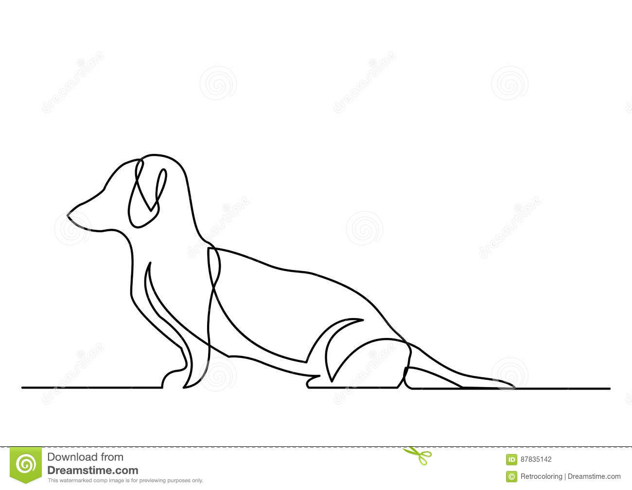 Continuous Line Drawing Easy : Continuous line drawing of dachshund dog stock vector