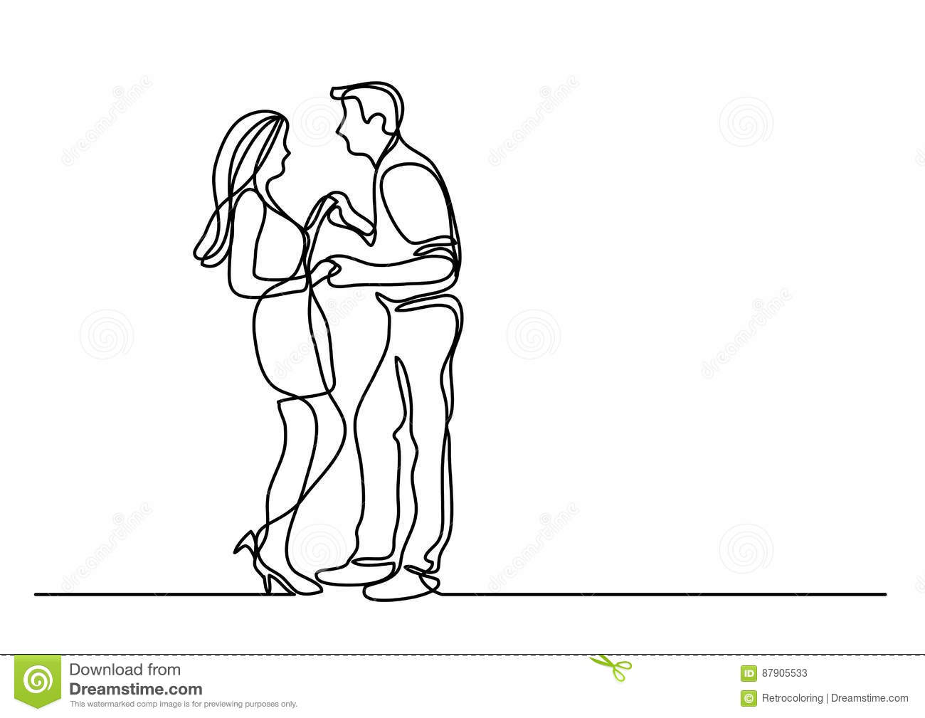 Continuous Line Drawing Of Dancing Couple Stock Vector