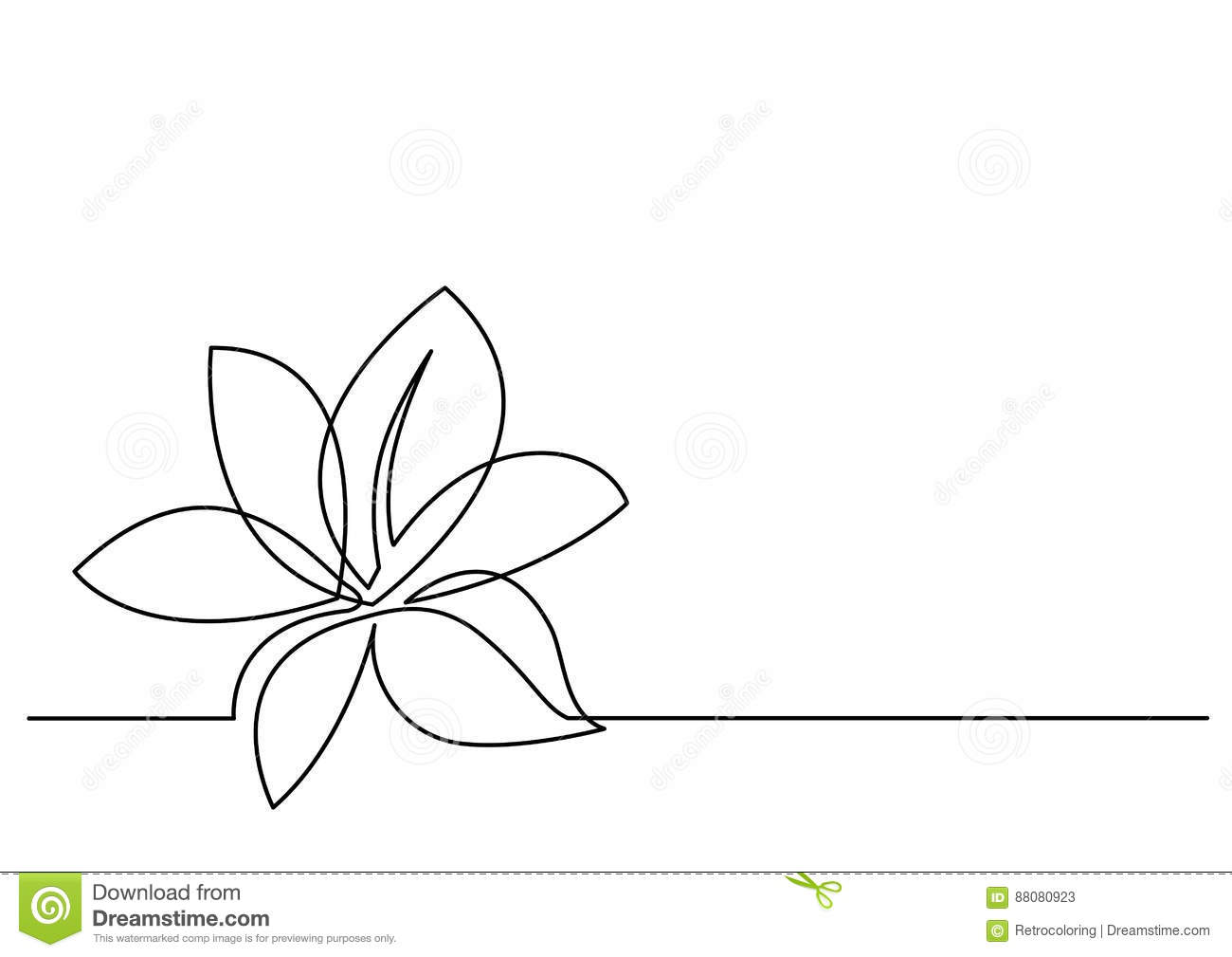 Line Drawing Editor : Continuous line drawing of flower stock vector