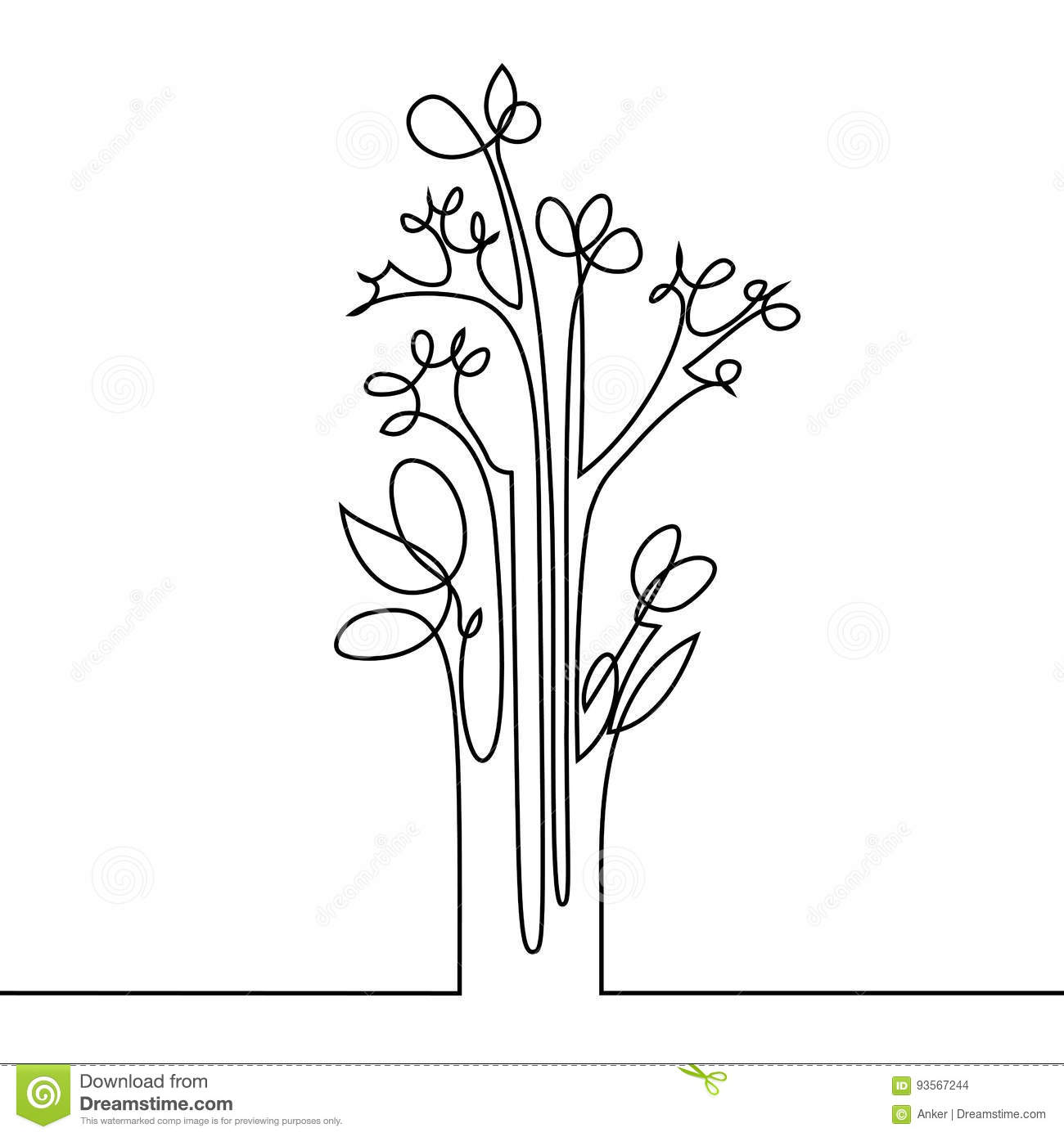 Continuous Line Drawing Flowers : Continuous line drawing of flowers stock vector