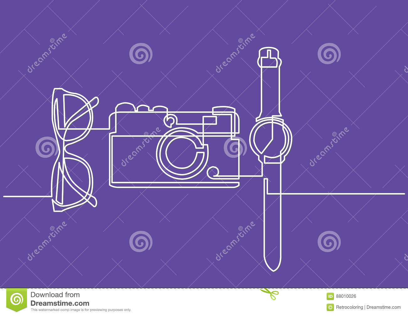 Line Drawing Glasses : Continuous line drawing of glasses camera watch stock vector