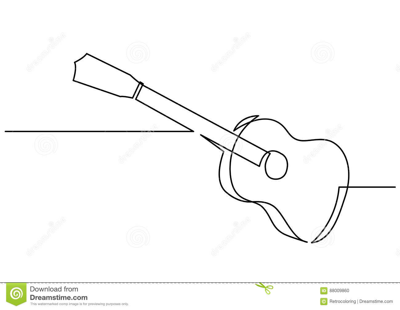 Continuous Line Drawing Of Guitar Stock Vector Illustration Of