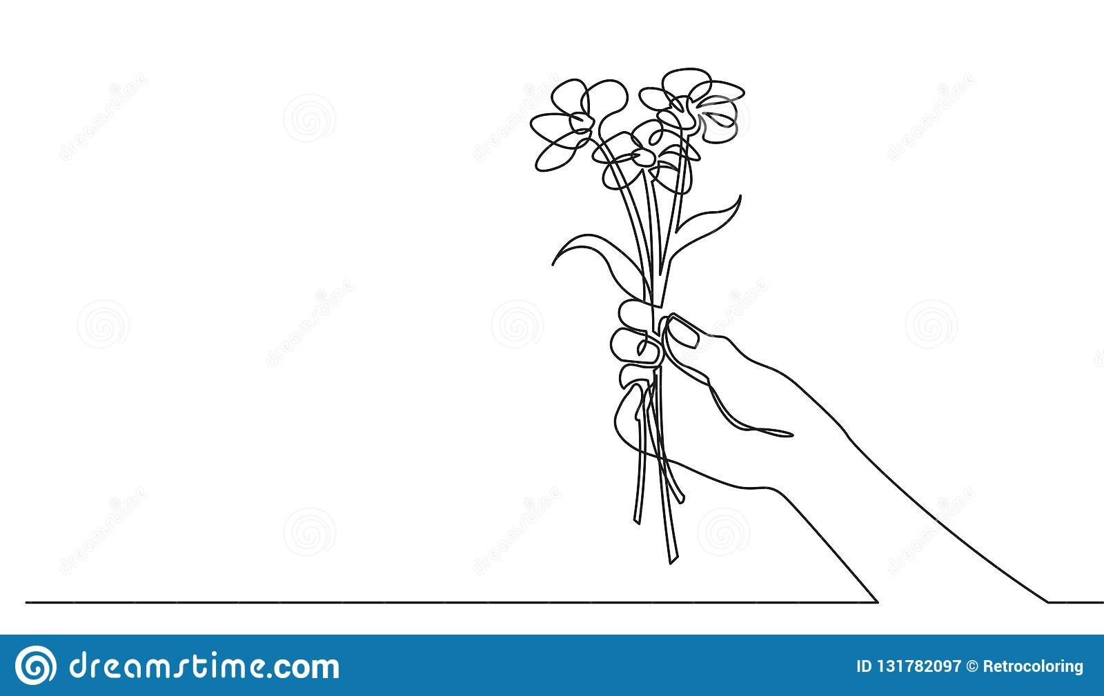 Continuous Line Drawing Of Hand Holding Flower Bouquet Stock
