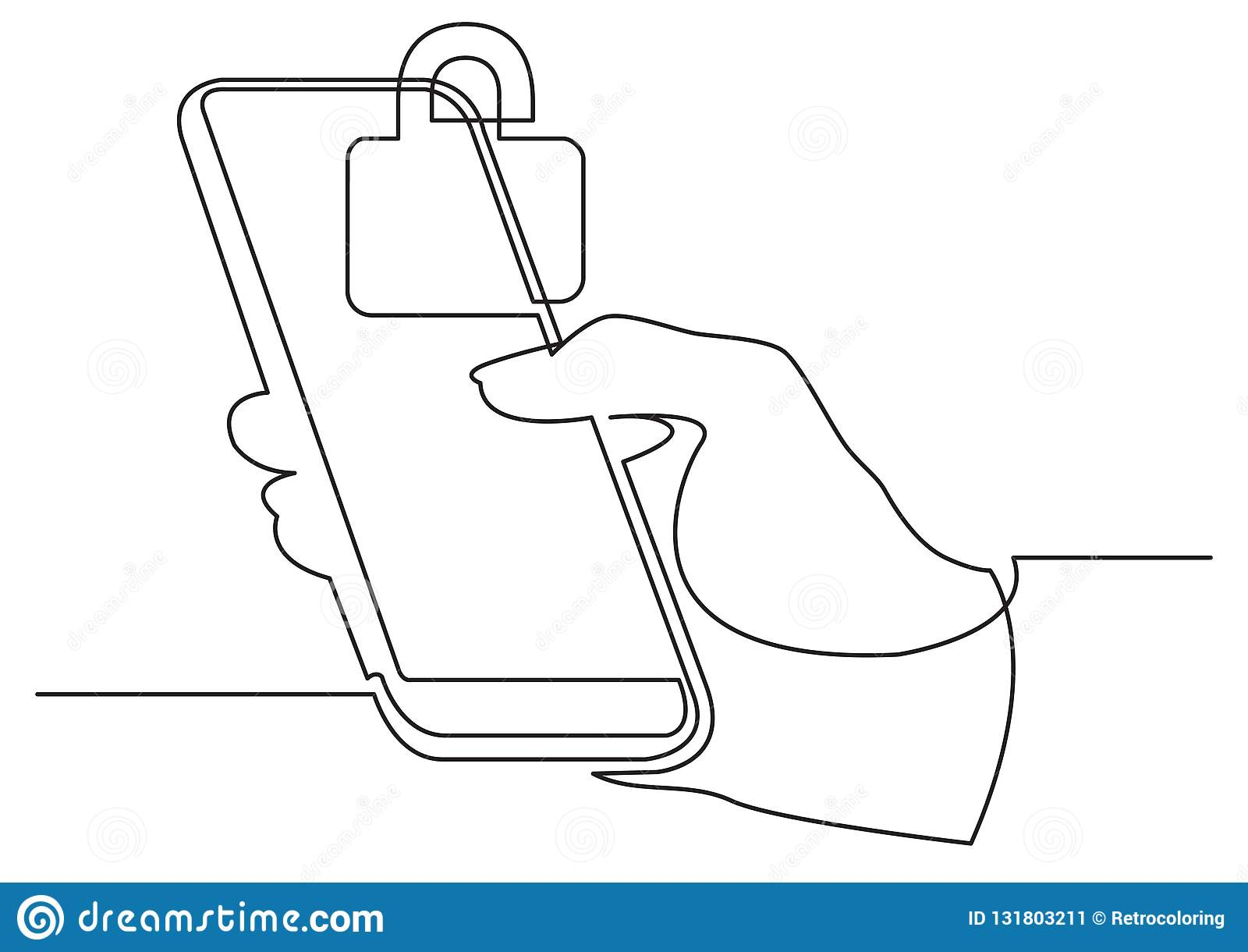 Continuous line drawing of hand using modern mobile phone with security lock