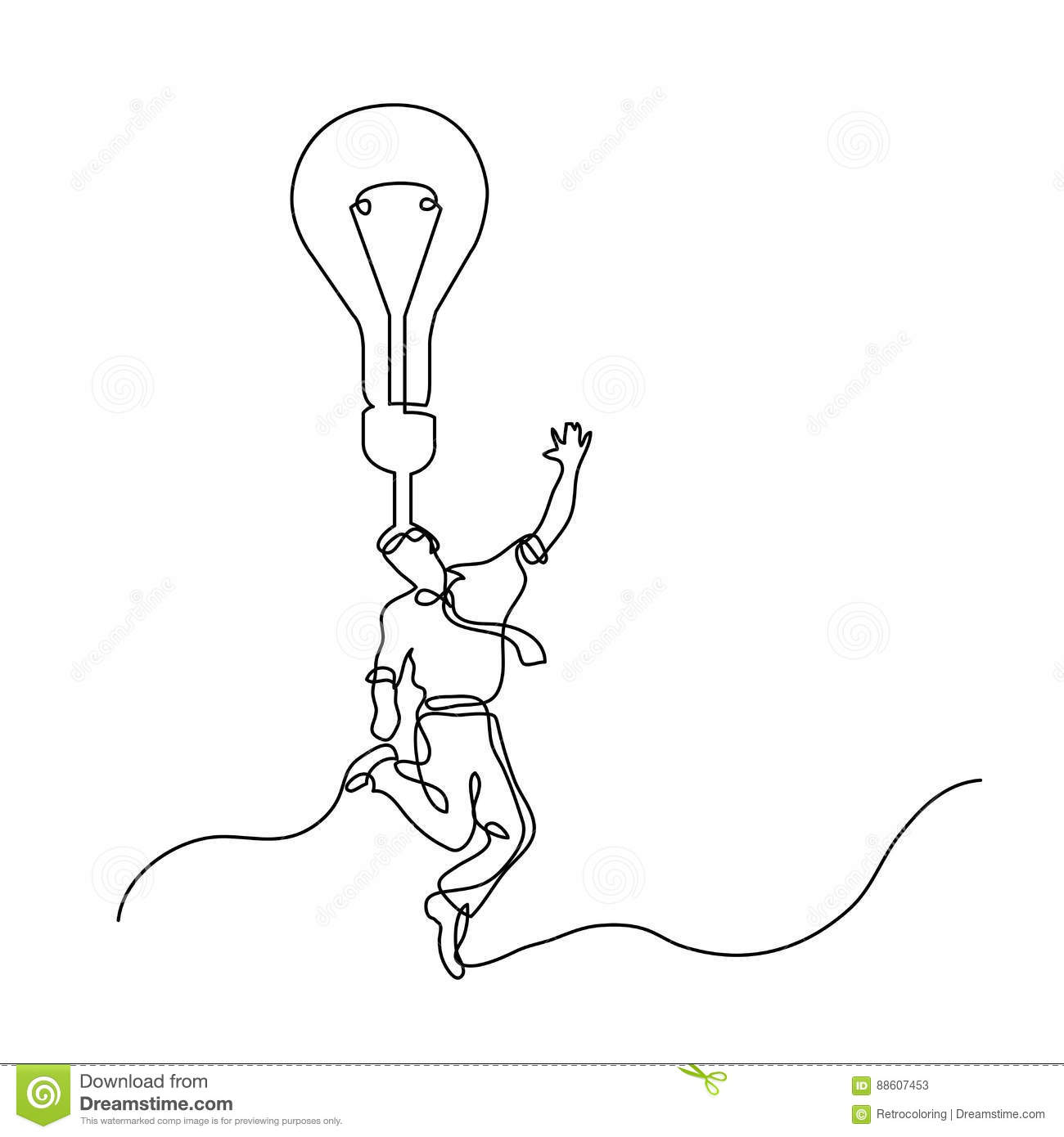 Continuous line drawing of happy businessman with brilliant idea