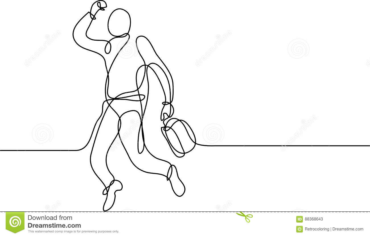 Continuous Line Drawing Of Happy Businessman Stock Vector