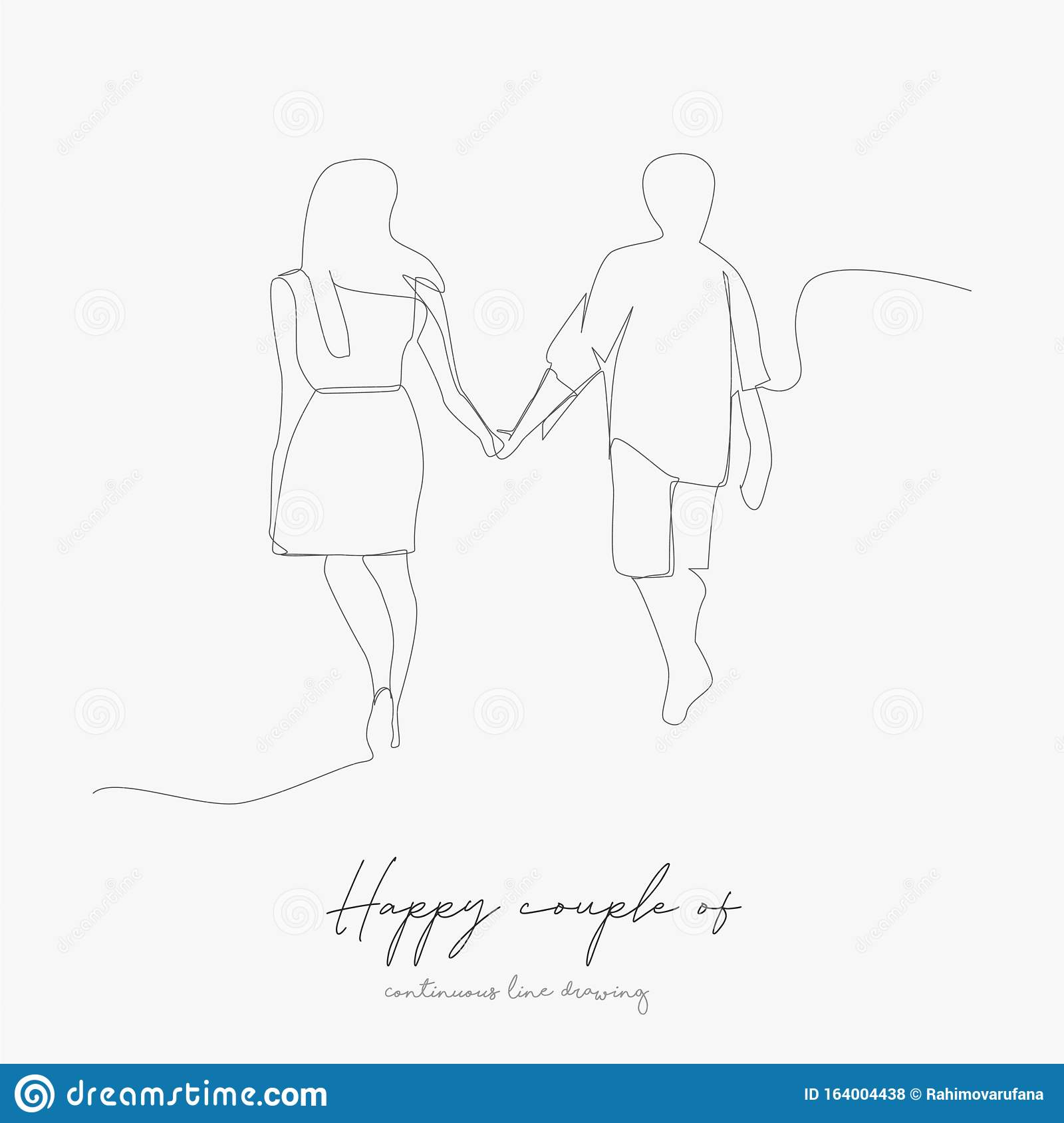 Continuous Line Drawing Happy Couple Of Man And Woman Simple Vector Illustration Happy Couple Of Man And Woman Concept Hand Stock Vector Illustration Of Icon Adult 164004438