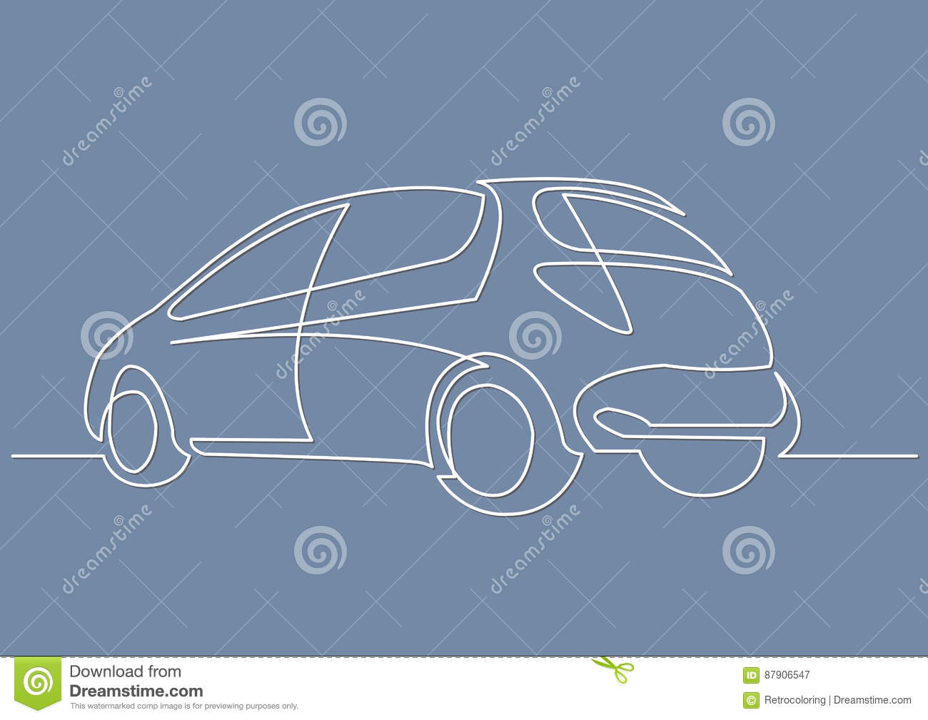Continuous Line Drawing Of Hatchback Car Stock Vector - Illustration ...