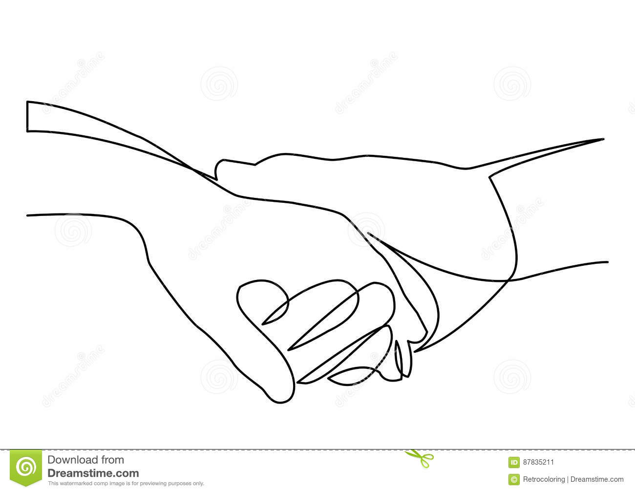 Simple Vector Line Art : Continuous line drawing of holding hands together stock