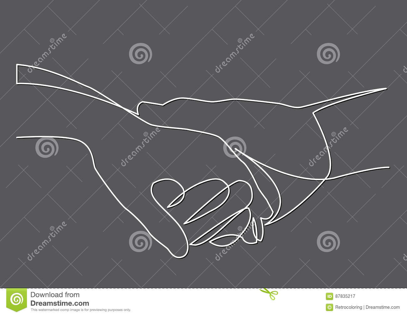 Line Drawing Holding Hands : Continuous line drawing of holding hands together stock vector