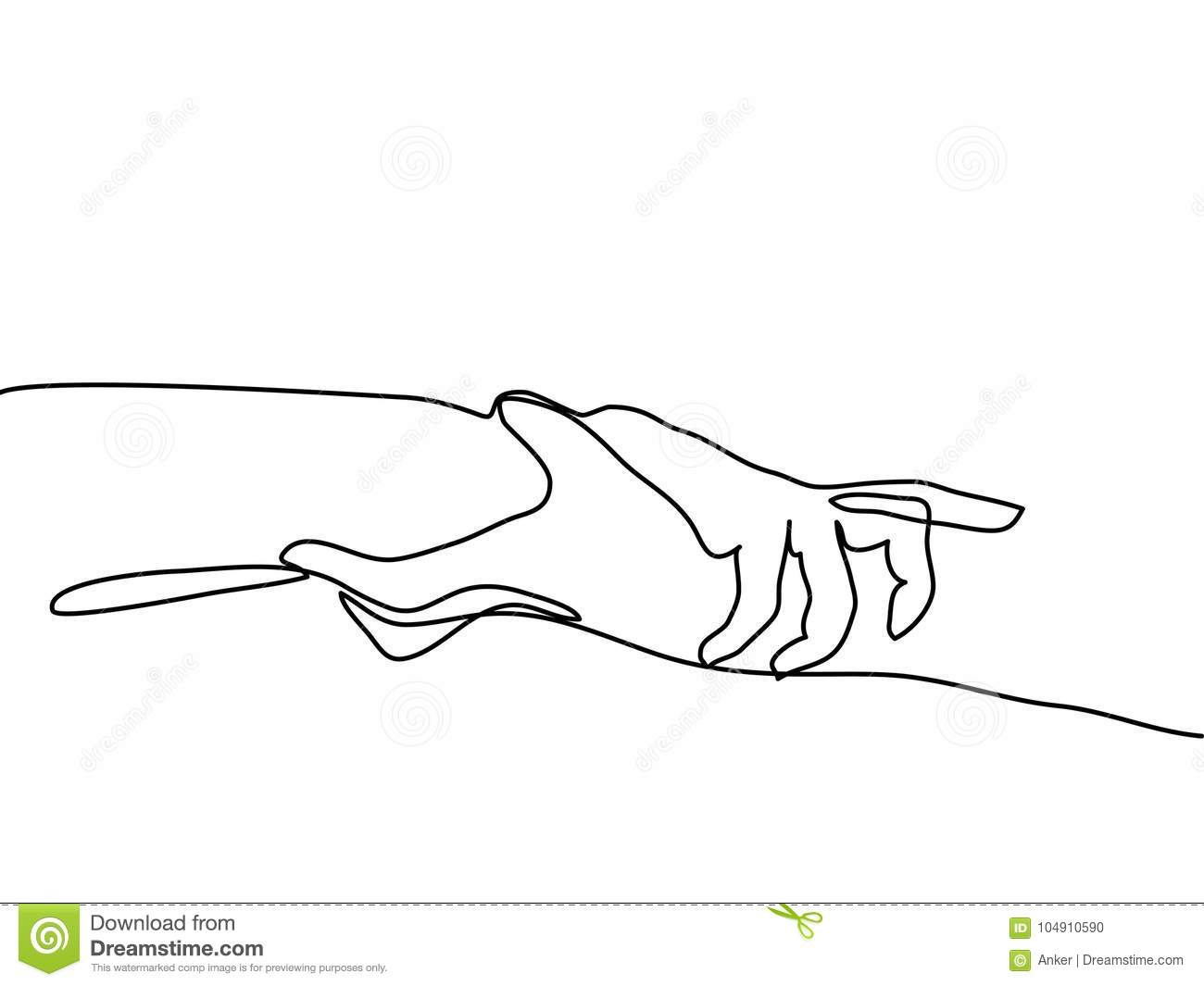 Line Drawing Holding Hands : Continuous line drawing of holding hands together stock