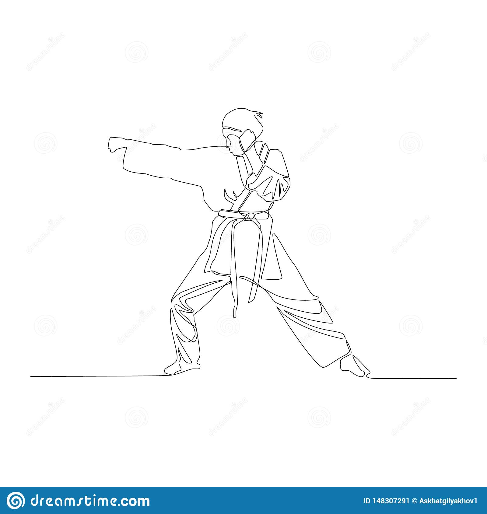 Continuous Line Drawing Karate Girl Makes A Punch Vector Illustration Stock Vector Illustration Of Fitness Illustration 148307291