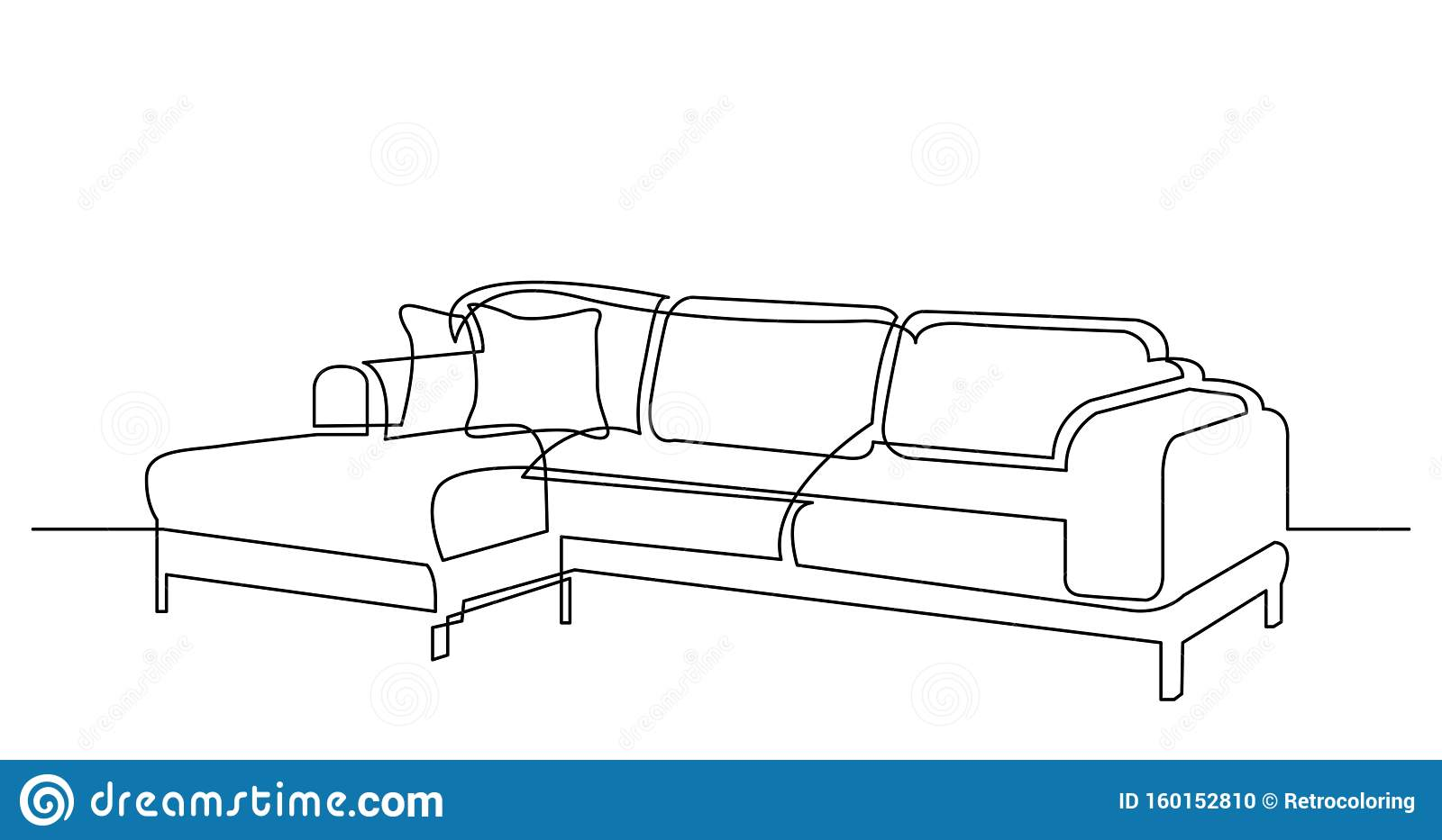 Continuous Line Drawing Of Large Modern Sectional Sofa With Cushions Stock Vector Illustration Of Background Linear 160152810