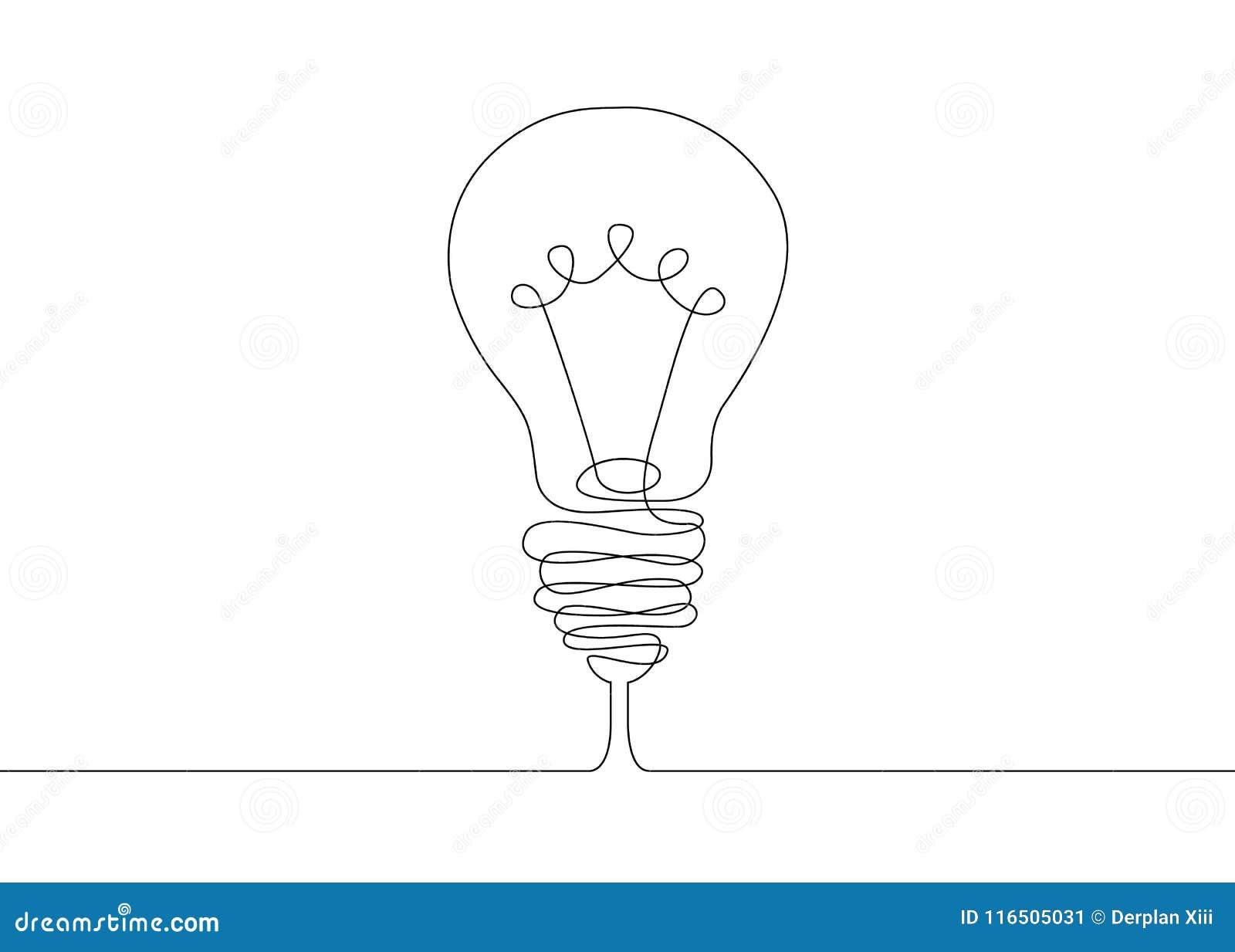Continuous Line Drawing Light Bulb Symbol Idea  Stock Vector