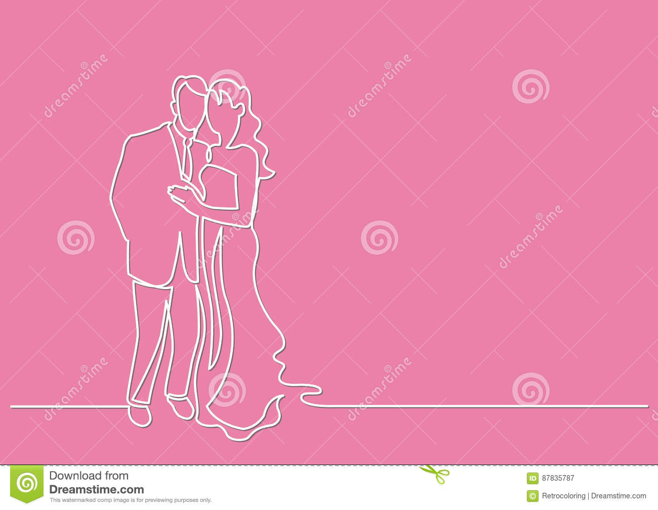 Continuous Line Drawing Of Loving Couple Stock Vector Illustration
