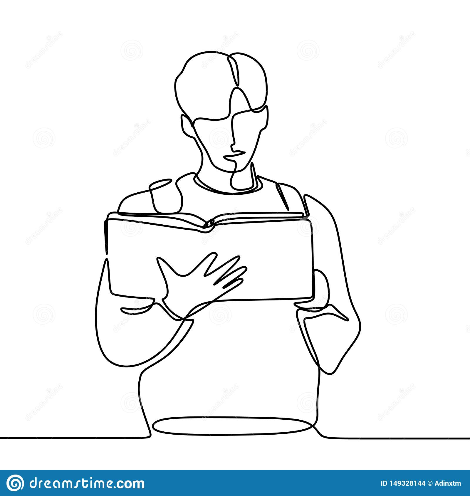 Continuous Line Drawing Of Man Read Book Stock Illustration
