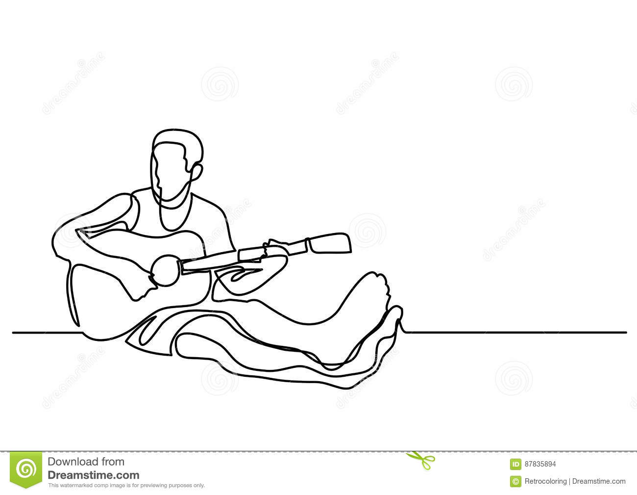 Contour Line Drawing Guitar : Continuous line drawing of man sitting playing guitar