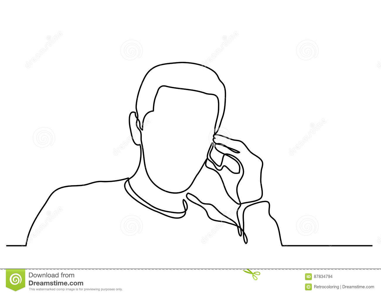 Line Drawing Man : Continuous line drawing of man talking on cell phone stock