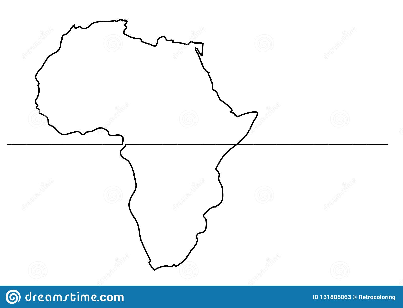 Map Of Africa Drawing.Continuous Line Drawing Map Of Africa Stock Vector Illustration