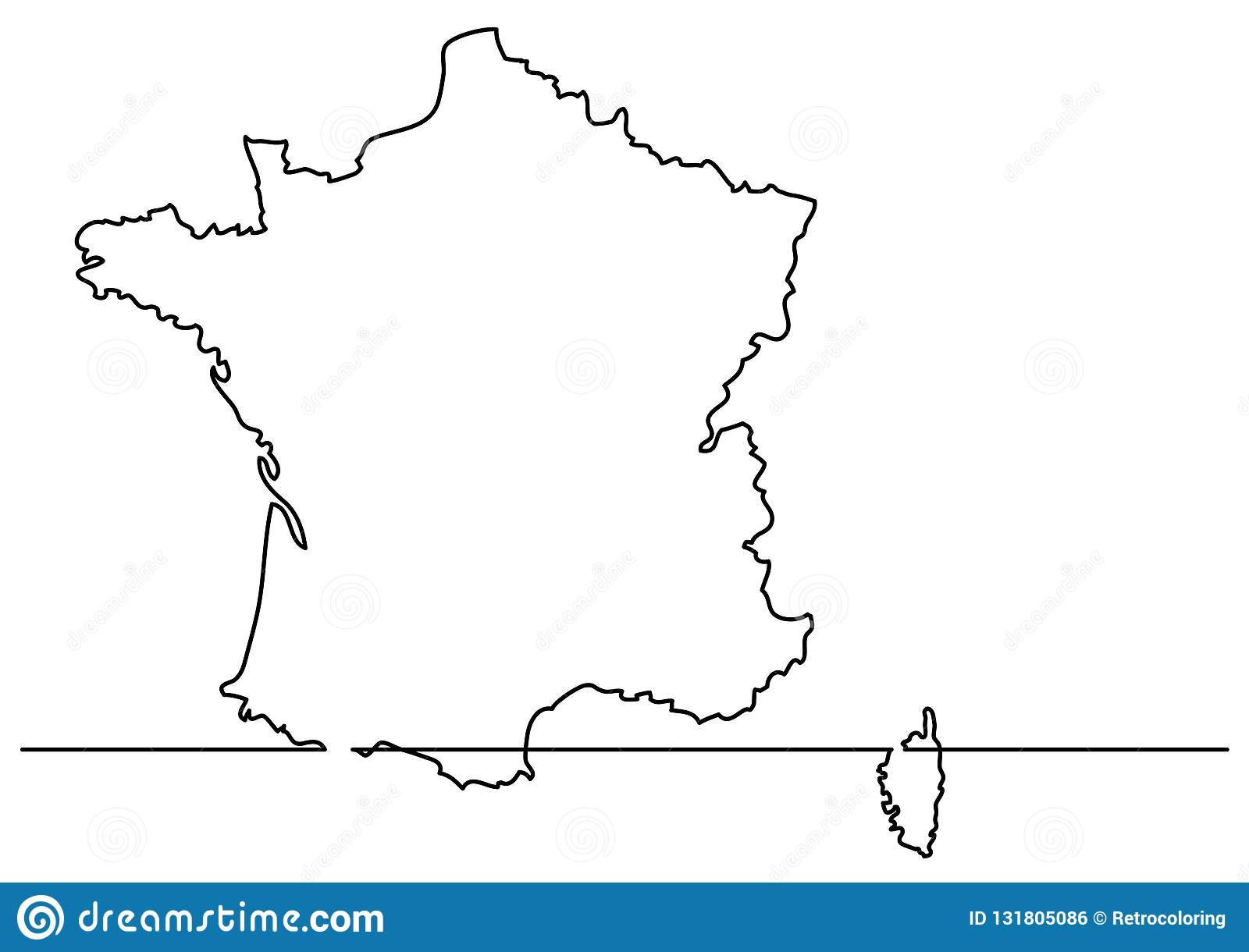 Map Of France Drawing.Continuous Line Drawing Map Of France Stock Vector Illustration