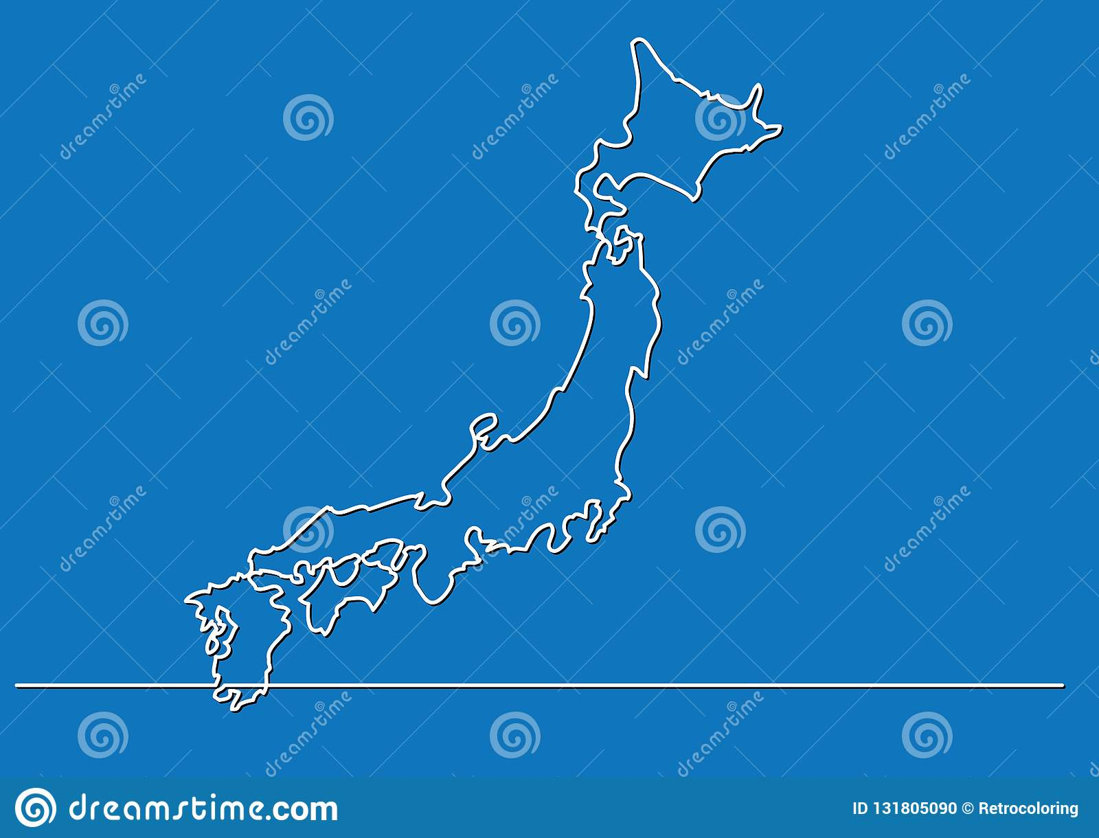 Continuous line drawing - map of Japan