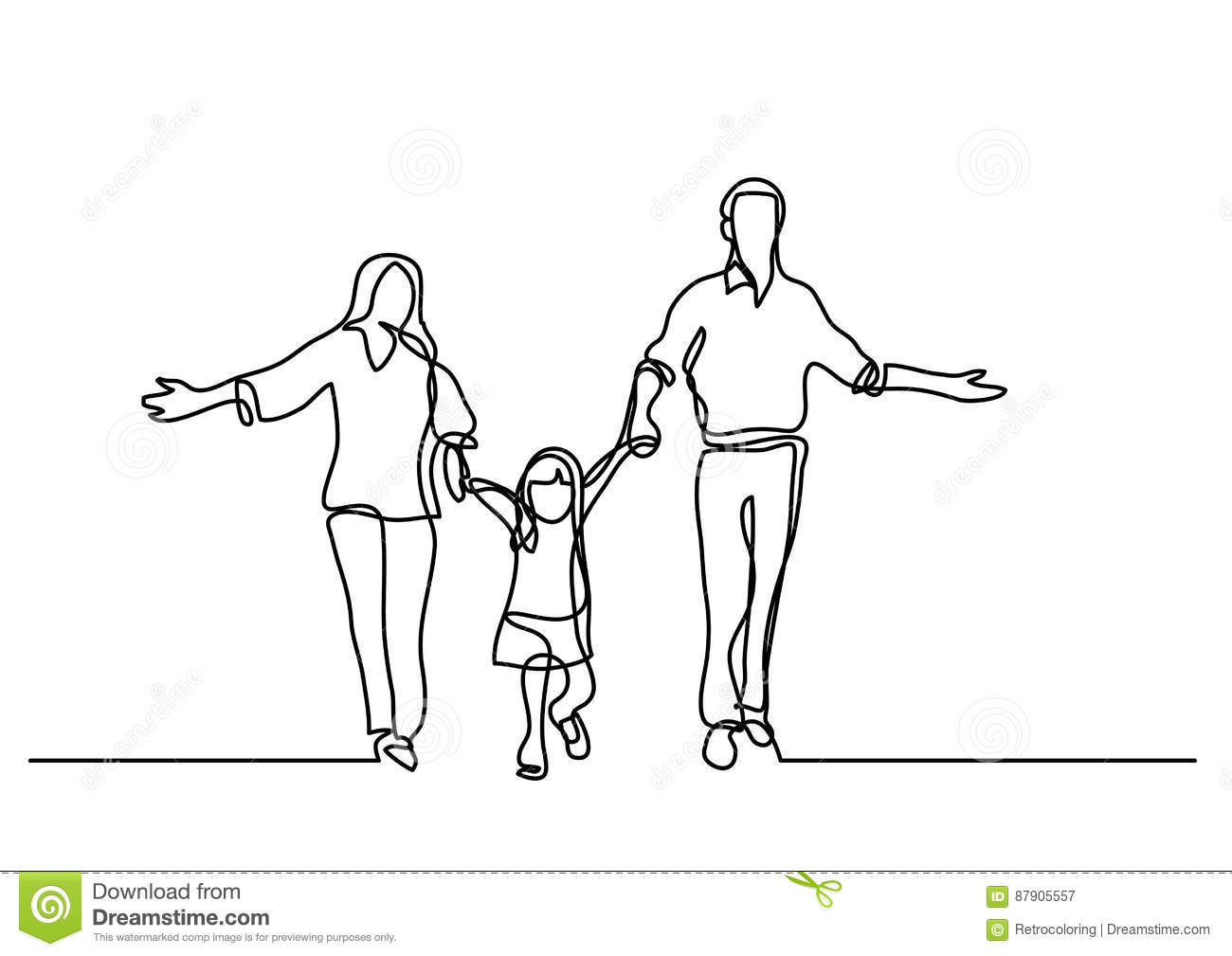 Continuous Line Drawing Of Mother Father And Child Stock Vector
