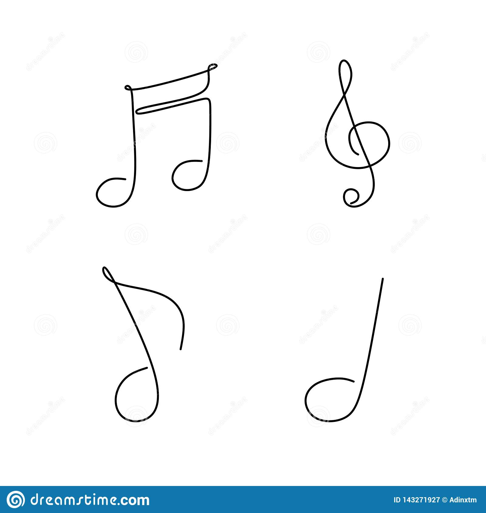 Continuous Line Drawing Of Note Music Symbol Set Collection