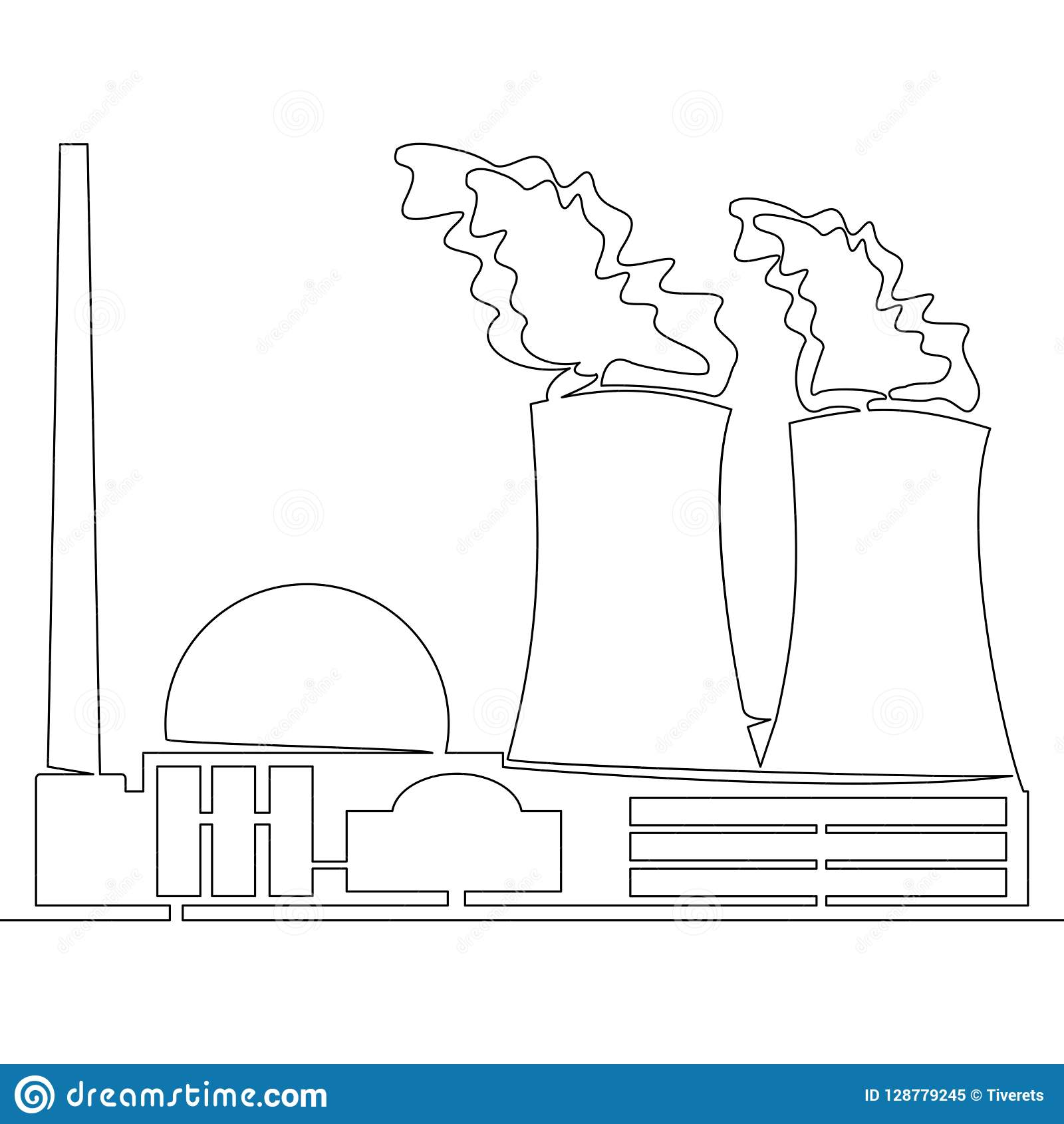 continuous line drawing nuclear power plant concept vector illustration