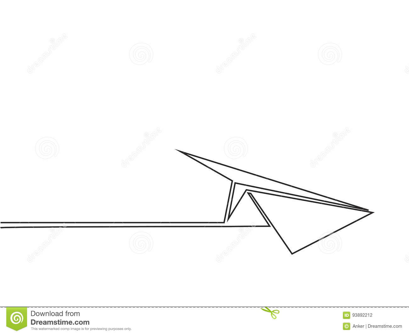 Continuous Line Drawing Of Paper Airplane Stock Vector