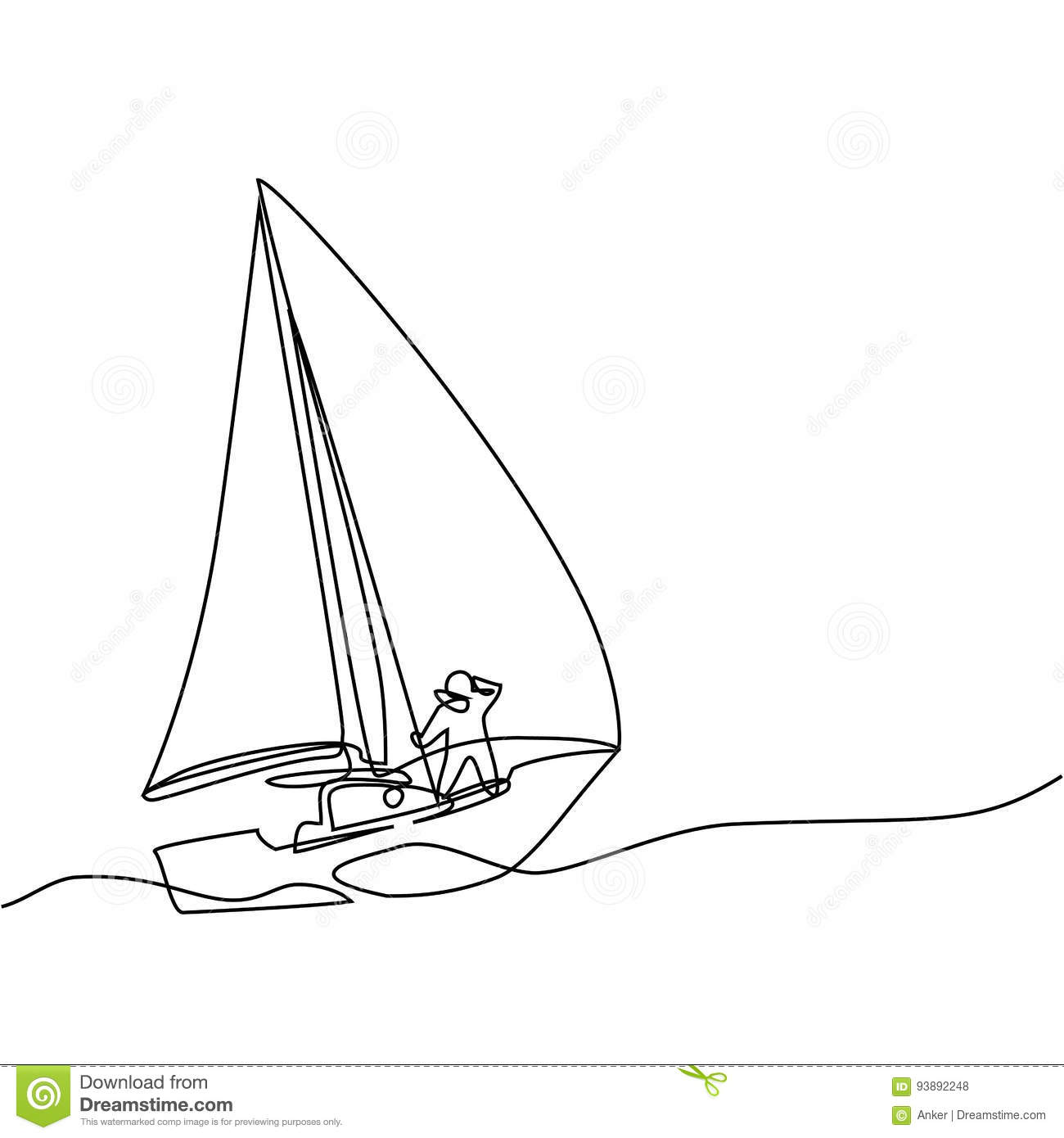 Line Art Boat : Continuous line drawing of paper boat stock vector image