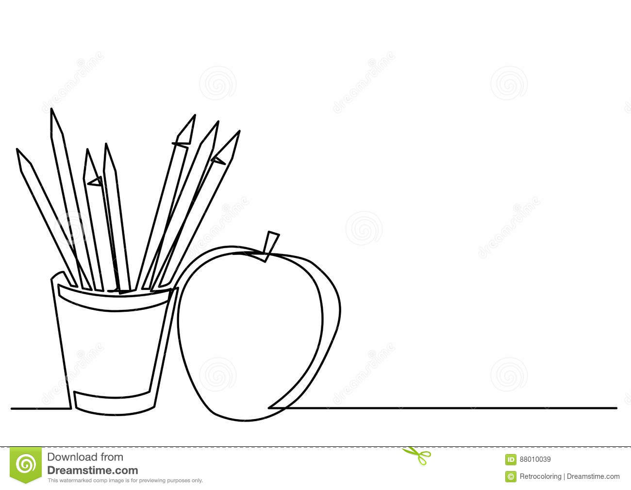 Line Drawing Editor : Continuous line drawing of pencils apple stock vector