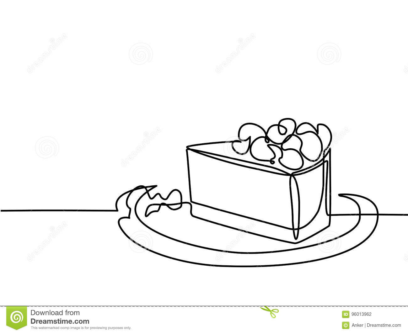 Line Drawing Cake : Continuous line drawing of piece cake stock vector