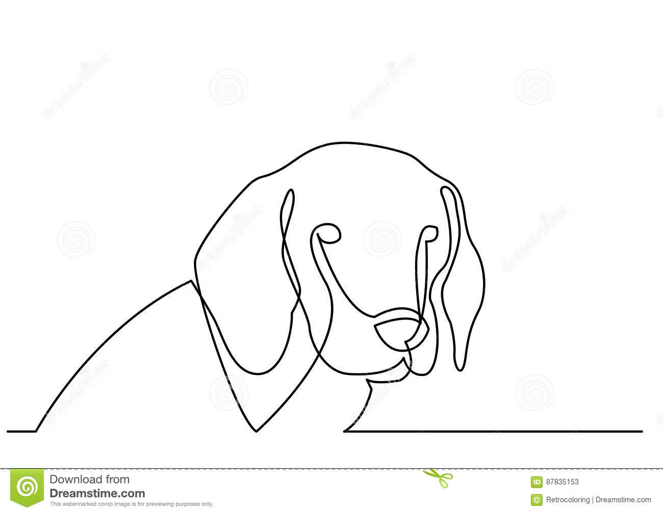 Contour Line Drawing Dog : Continuous line drawing of portrait dog stock vector