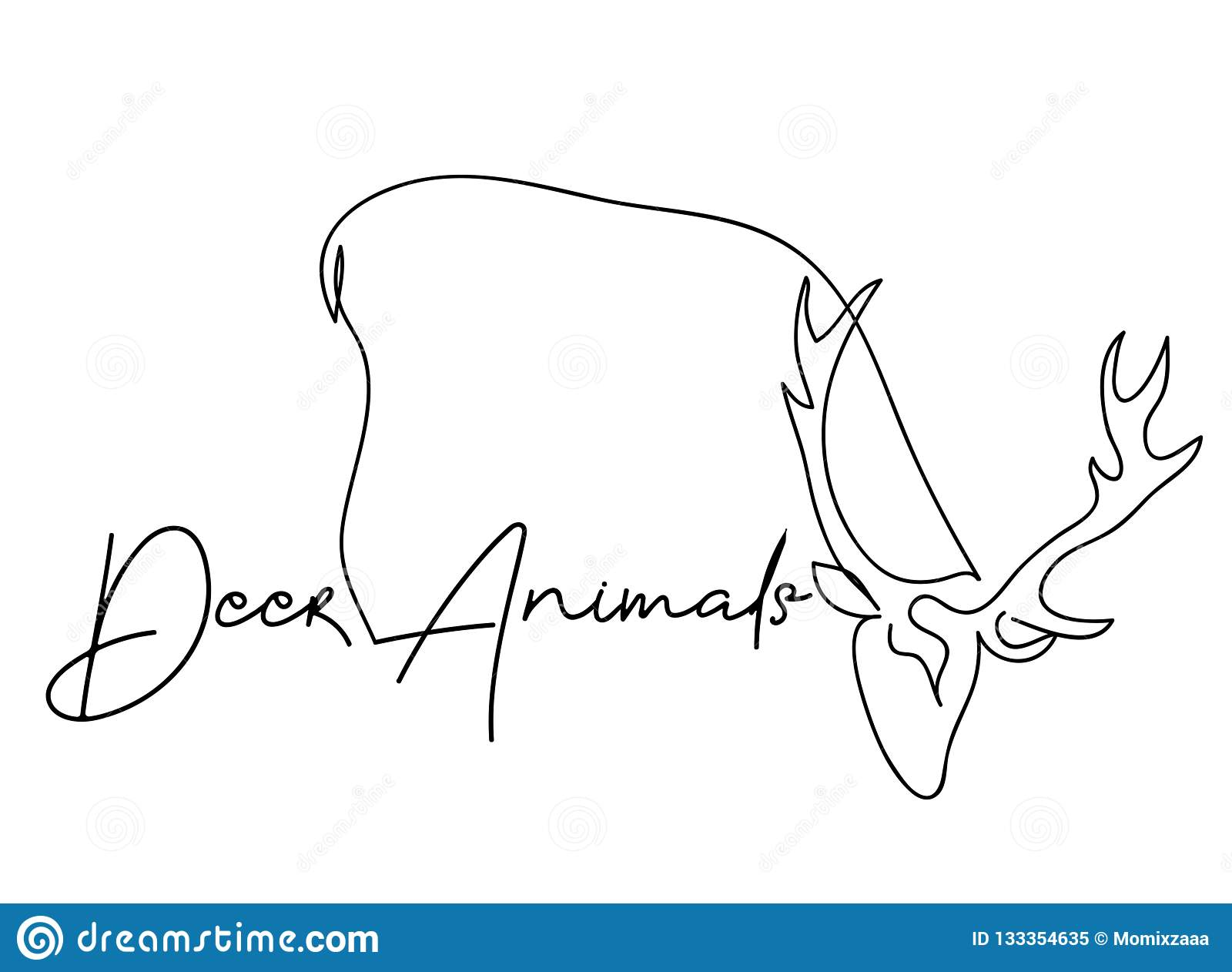 Continuous Line Drawing Of A Reindeer Christmas Wildlife ...