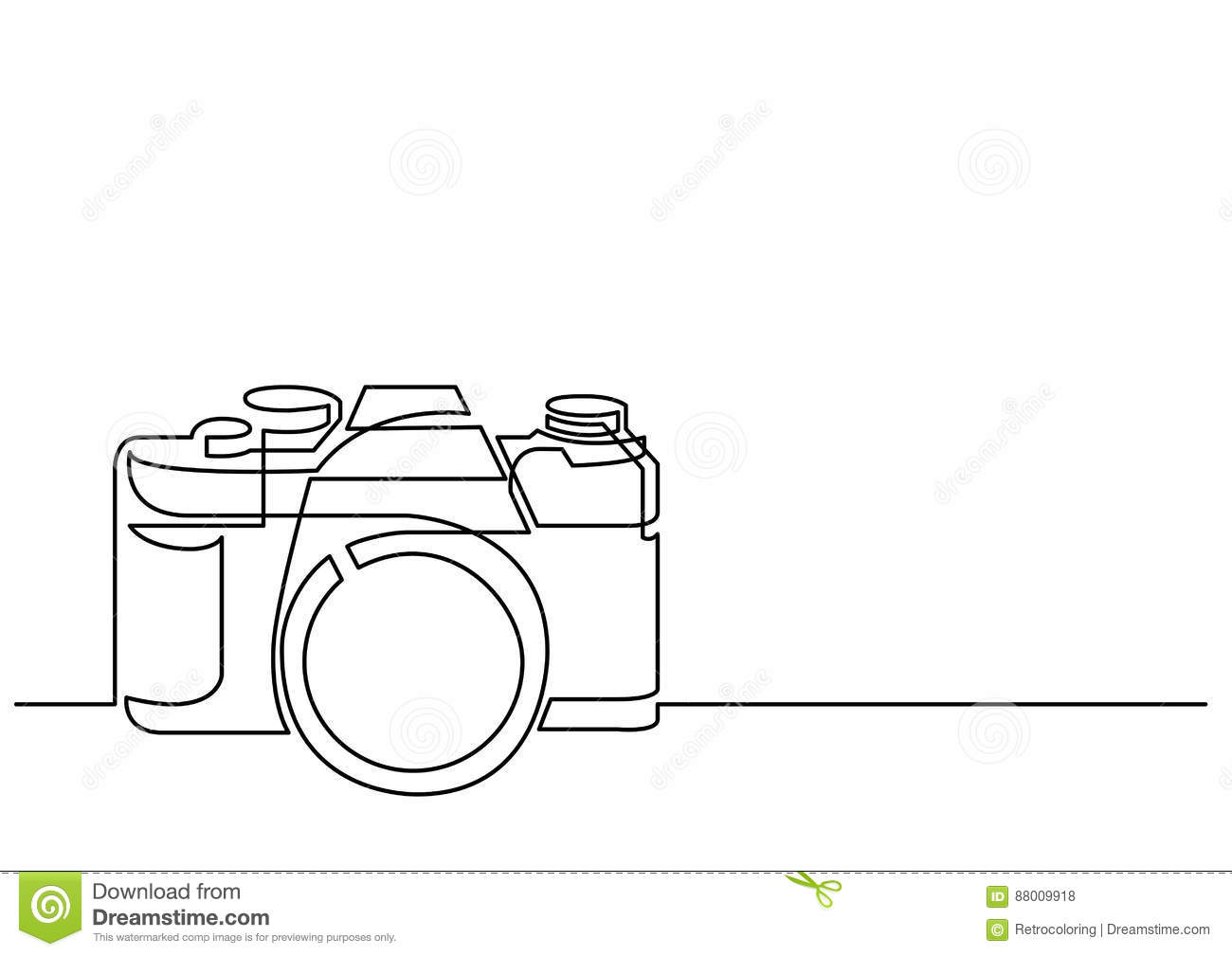 Line Drawing Editor : Continuous line drawing of retro photo camera stock vector