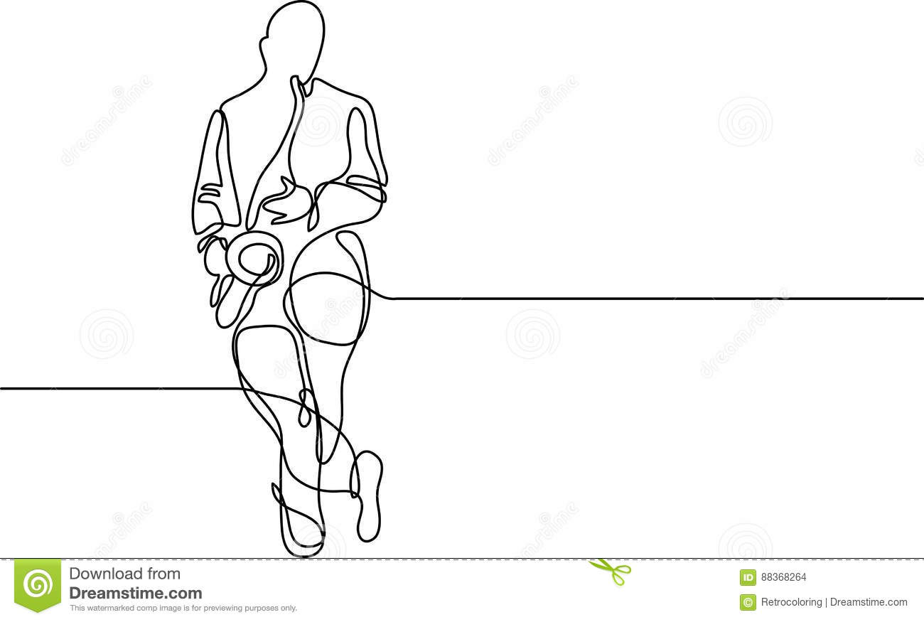 Continuous Line Drawing Of Saxophone Player Standing Stock Vector