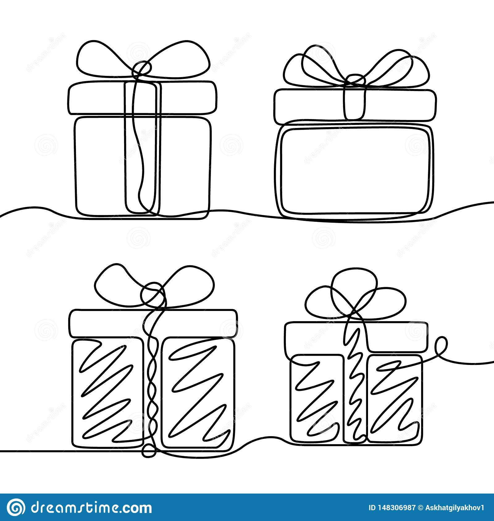 Continuous line drawing set of Gifts box . New Year and Happy Christmas theme