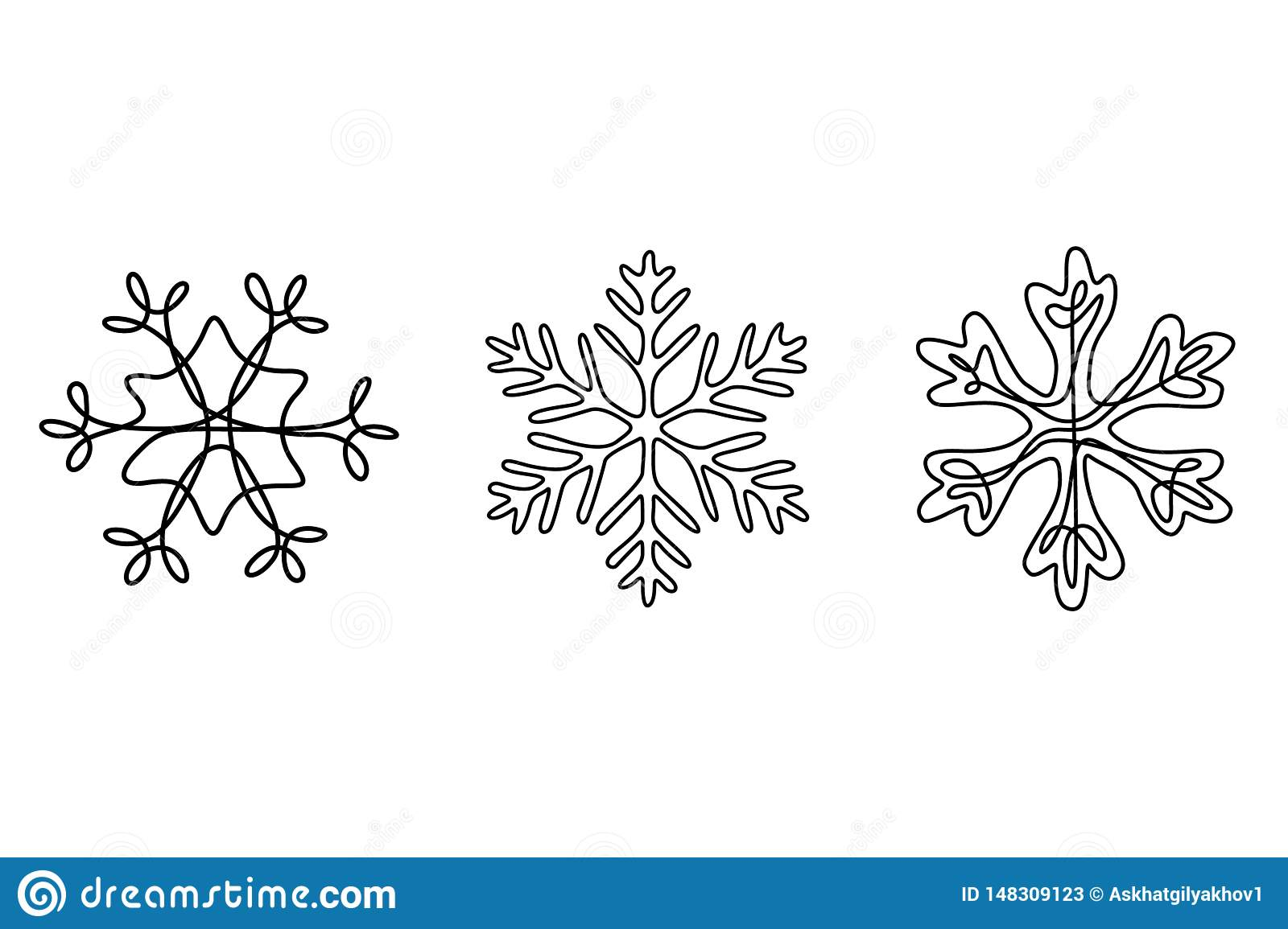 Continuous line drawing set of snowflakes, winter theme.