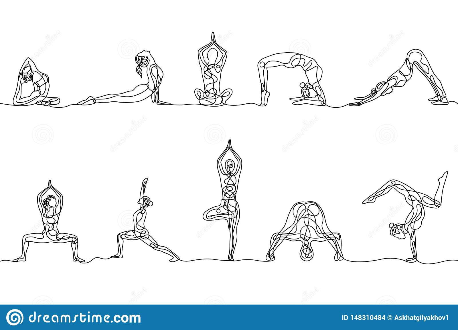 Continuous One Line Drawing Set Of Woman Yoga Poses Vector Stock Vector Illustration Of Linear Meditation 148310484