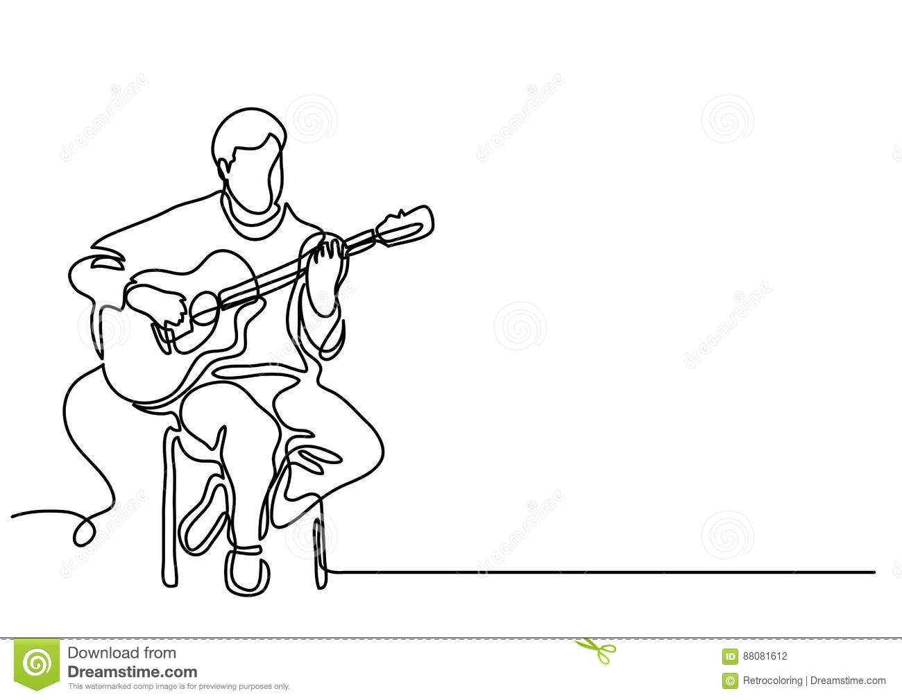 Continuous Line Drawing Of Sitting Guitarist Playing Guitar Stock