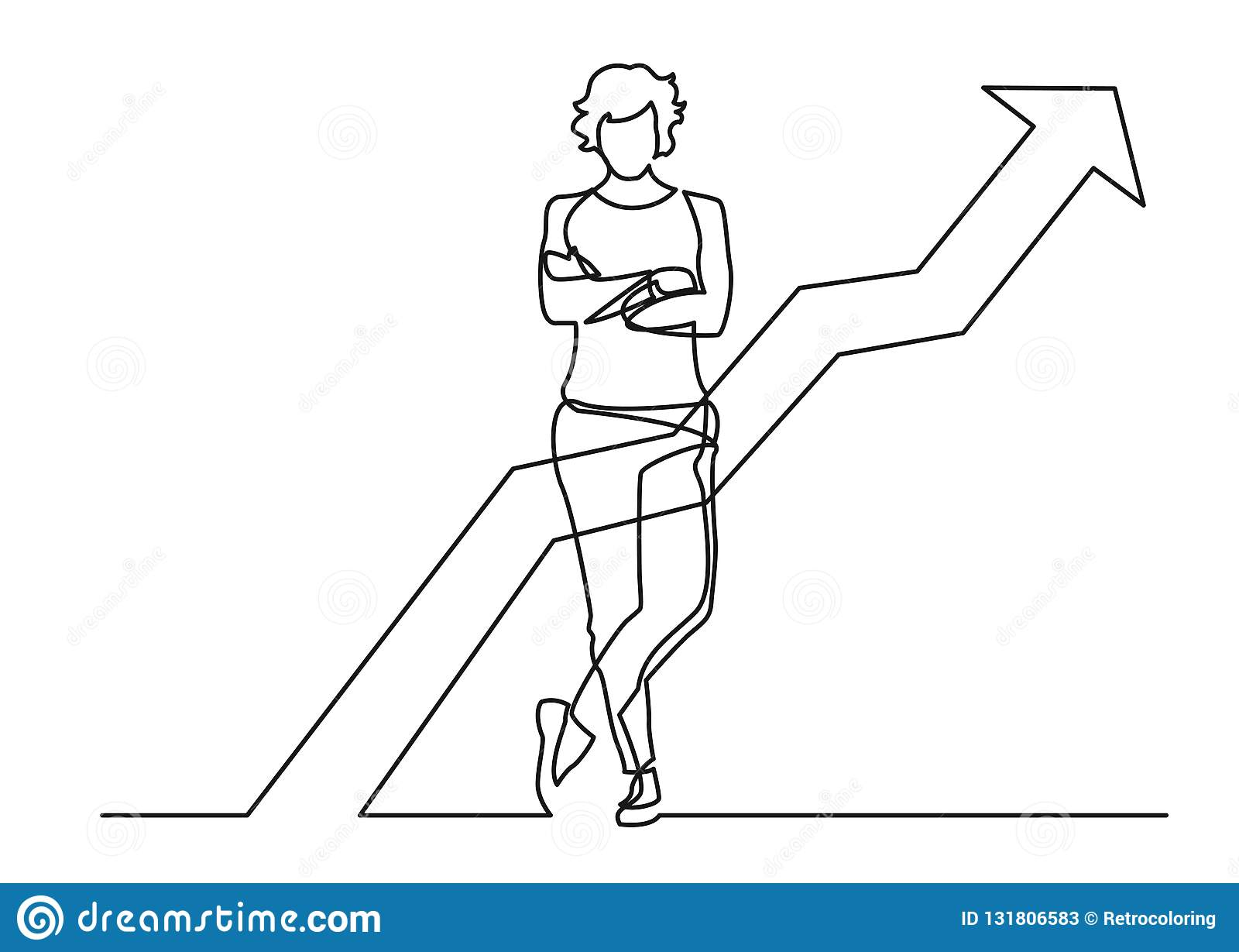Continuous line drawing of standing confident woman with crossed arms with increasing graph