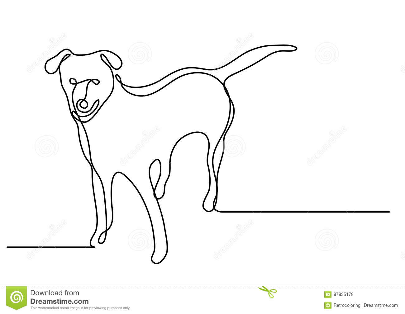 Contour Line Drawing Of A Dog : Continuous line drawing of standing dog vector