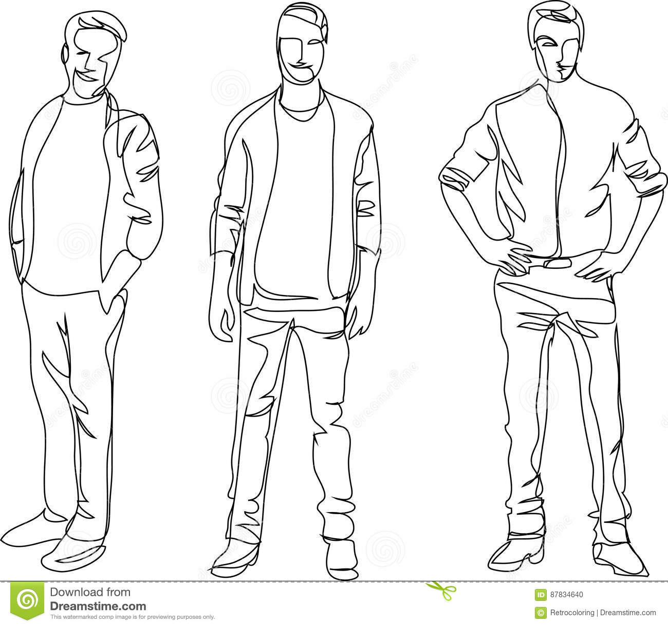 Line Drawing Man : Continuous line drawing standing men stock vector
