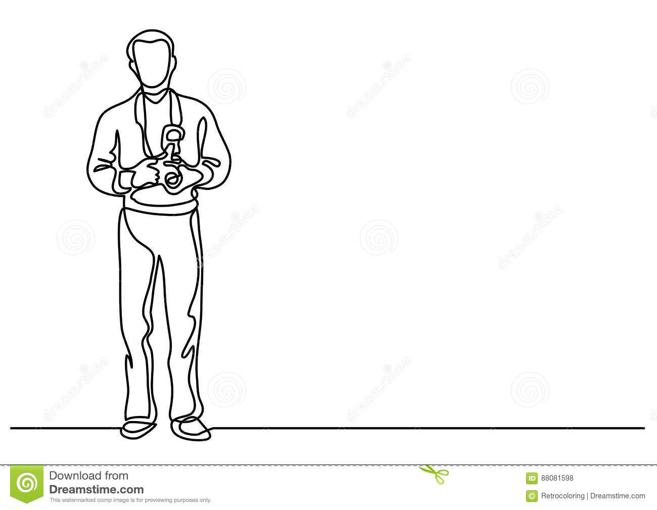 Line Drawing Editor : Continuous line drawing of standing photographer with