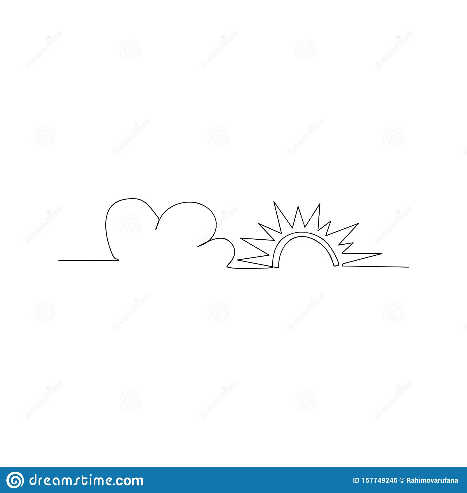 continuous line drawing of sun and cloud. isolated sketch drawing of sun and cloud line concept. outline thin stroke vector