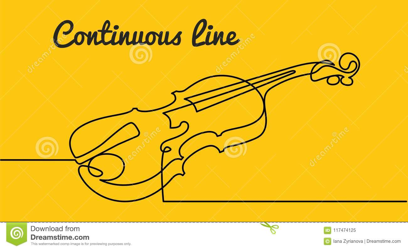 continuous line drawing of three quarter violin vector musical