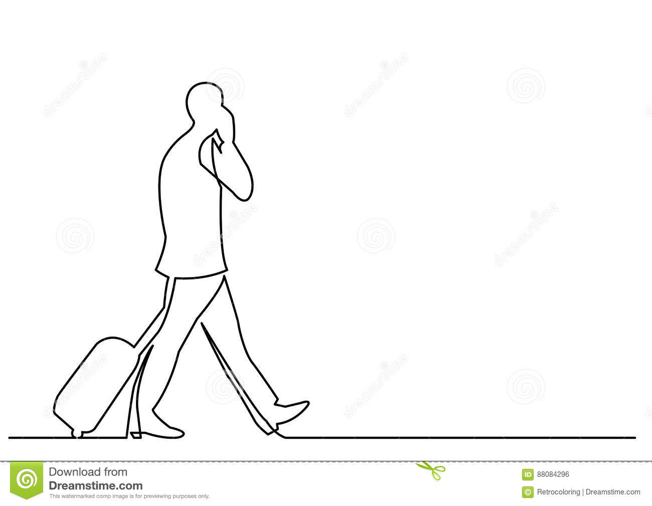Line Drawing Editor : Continuous line drawing of travelling businessman walking