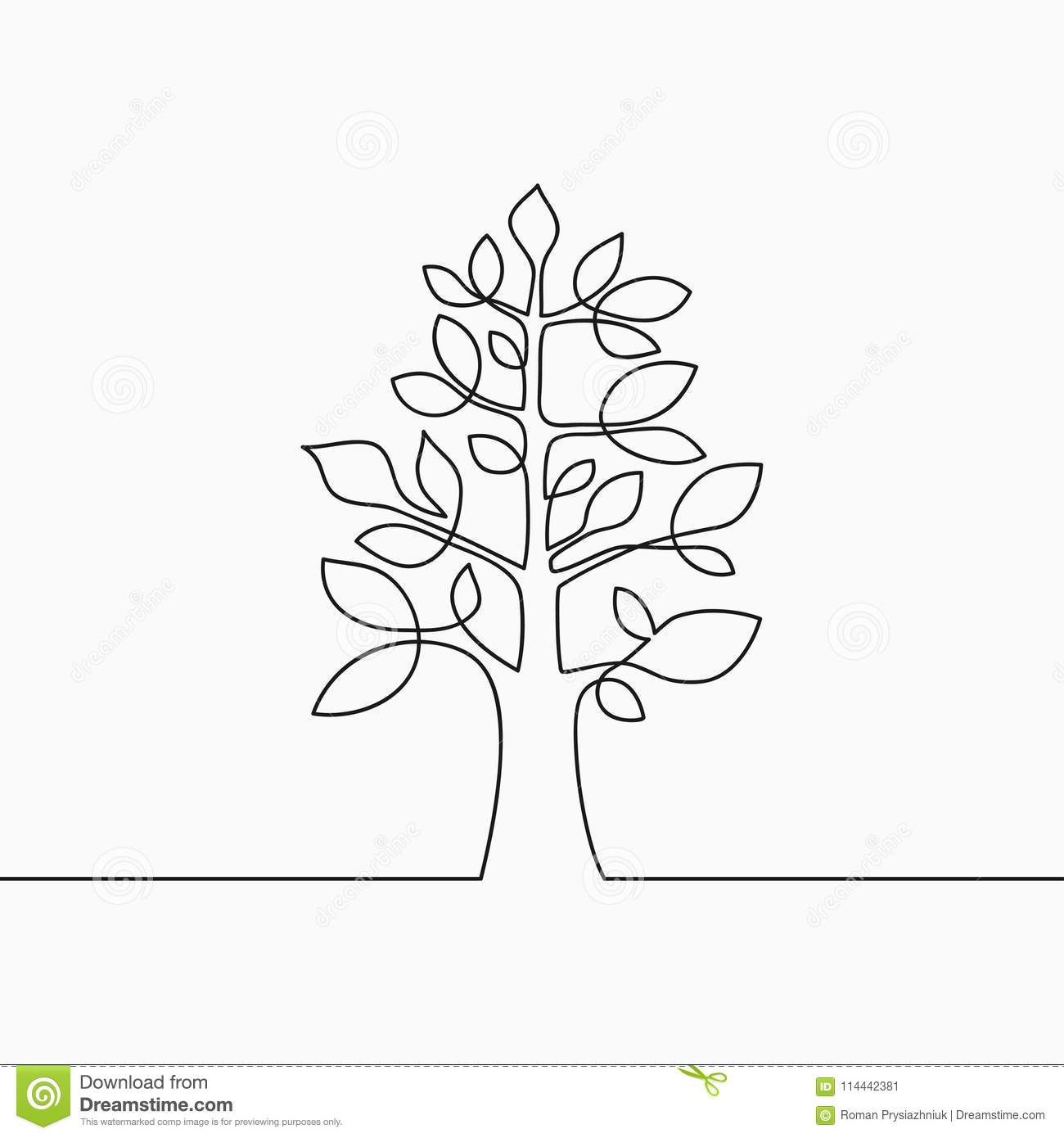 Continuous Line Drawing Of Tree With Leaf. One Line Wood