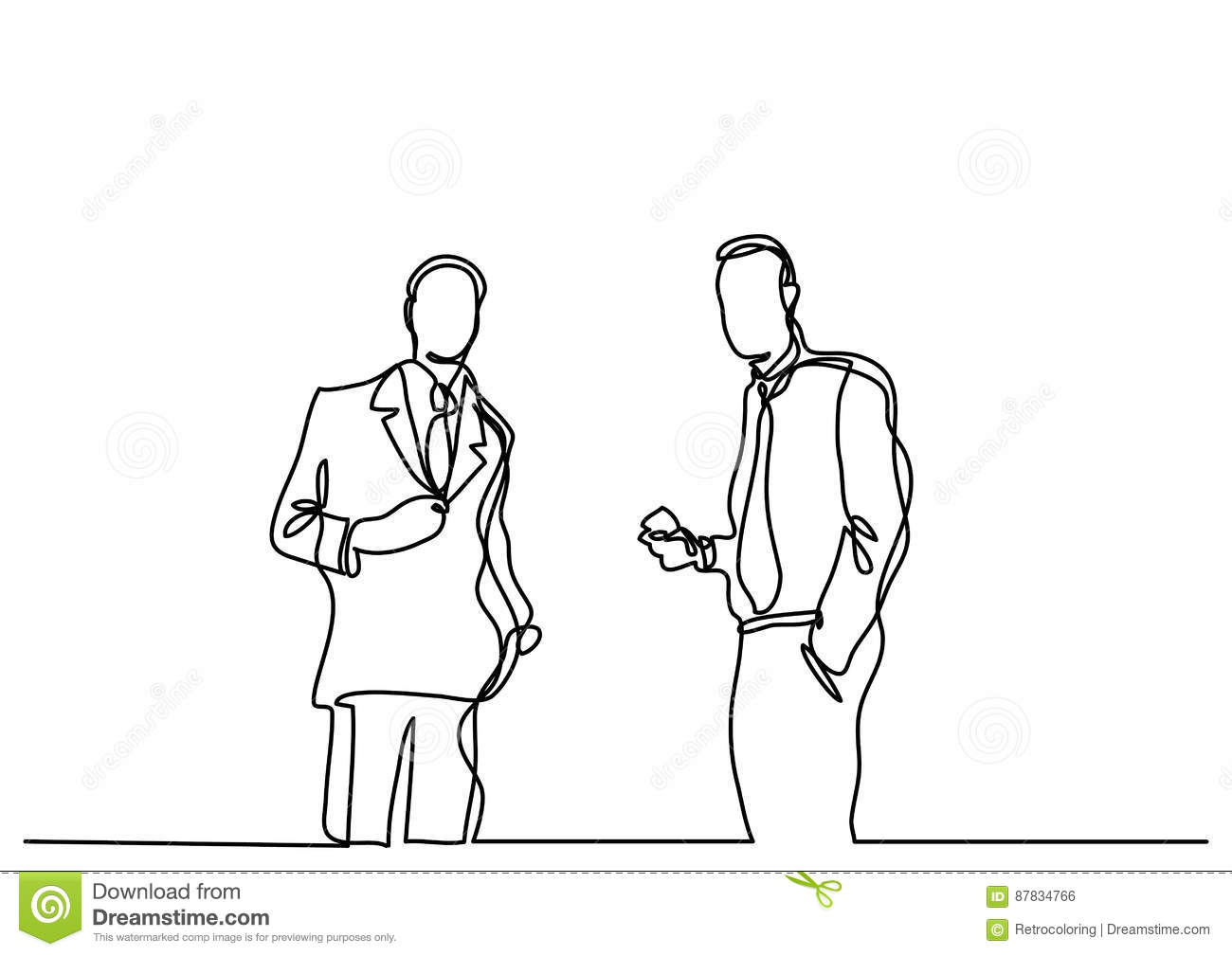 Line Drawing Editor : Continuous line drawing of two businessmen talking stock