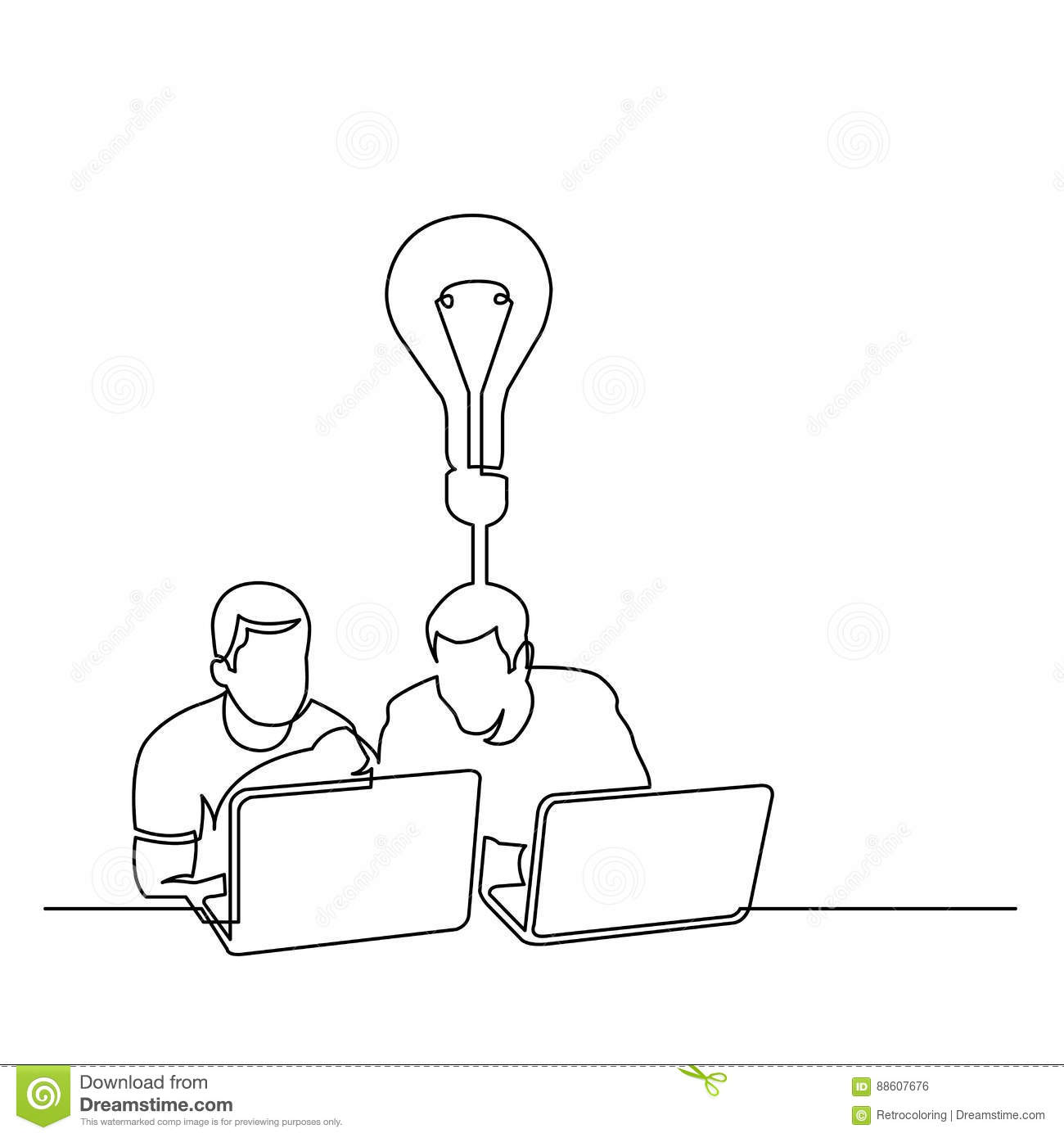 Line Drawing Editor : Continuous line drawing of two men sitting with laptop